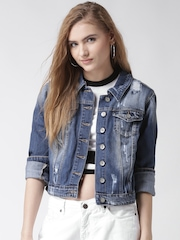 Silvian Heach Blue Washed Distressed Denim Jacket