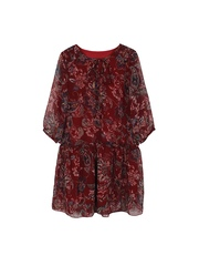 My Little Lambs Girls Maroon Printed Polyester Drop-Waist Dress
