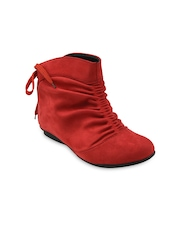 Bruno Manetti Women Red Suede Flat Boots