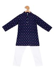 Campana Boys Navy & White Printed Kurta Pyjama