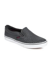 Vans Women Grey Leather Asher Slip-On Sneakers