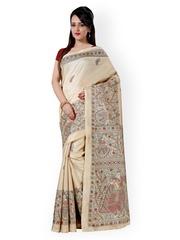 Saree mall Beige Khadi Silk Printed Saree