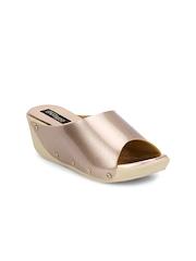 Shoetopia Women Gold-Toned Wedges