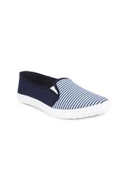 Shoetopia Women Blue Striped Casual Shoes