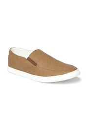 Franco Leone Men Brown Perforated Slip-On Sneakers