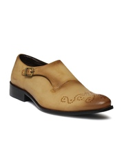 Franco Leone Men Beige Monk Formal Shoes