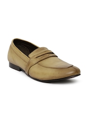 Franco Leone Men Beige Leather Slip-Ons