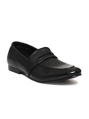 Franco Leone Men Black Leather Formal Slip-Ons