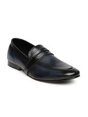 Franco Leone Men Navy Leather Slip-Ons