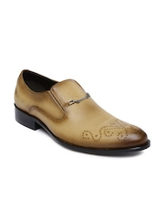 Franco Leone Men Tan Brown Pointy-Toed Leather Semiformal Slip-Ons