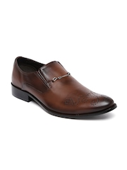 Franco Leone Men Brown Leather Formal Brogue Slip-Ons