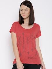 Vero Moda Coral Red Arrow Print T-shirt