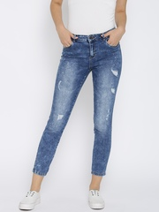 Vero Moda Blue Washed Slim Cropped Jeans