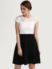 COVER STORY Women White & Black Lace A-Line Dress
