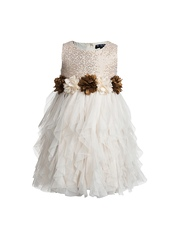 Toy Balloon kids Girls Off-White Sequinned Fit & Flare Dress