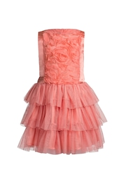 Toy Balloon kids Girls Coral Orange Solid Fit & Flare Dress