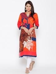 Shree Women Orange & Navy Printed Straight Kurta