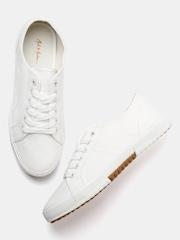 Mast & Harbour Men Off-White Solid Regular Sneakers
