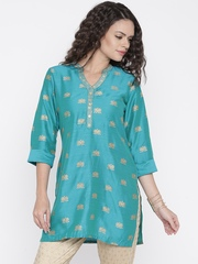 Anouk Women Turquoise Blue & Gold-Toned Printed A-Line Kurti