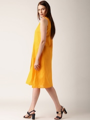IndusDiva Mumbai Khadi Women Yellow Solid A-Line Dress