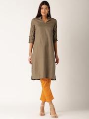 IndusDiva Khadi Originals Taupe & Orange Salwar Suit