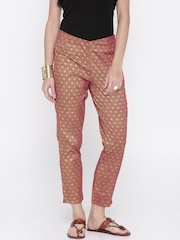 Anouk Women Pink Printed Regular Fit Flat-Front Trousers