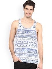 Atorse Blue & White Printed Innerwear Vest S16SND016XL
