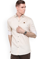 After8 Jeans Cream-Coloured Printed Slim Fit Casual Shirt