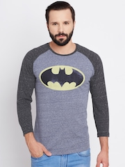 Batman Men Blue Printed Round Neck T-shirt