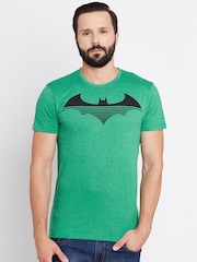 Batman Men Green Printed Round Neck T-shirt