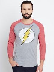DC Comics Men Grey Melange Printed Round Neck T-shirt