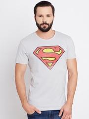 Superman Men Light Grey Printed Round Neck T-shirt