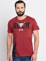 WWE Men Red Printed Round Neck T-shirt