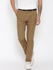 Allen Solly Men Brown Solid Custom Fit Flat-Front Casual Trousers