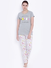July Nightwear Grey & White Printed Lounge Set C07
