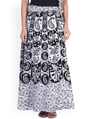 SOUNDARYA Black & White Ethnic Print Wrap-Around Skirt