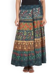 SOUNDARYA Green Ethnic Print Wrap-Around Maxi Skirt