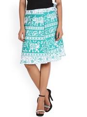 SOUNDARYA Green & White Ethnic Print Wrap-Around Skirt