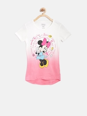 Disney Girls White Printed Round Neck Dyed T-shirt