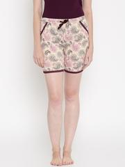 Jockey Woman Peach-Coloured Printed Lounge Shorts RX10-0103