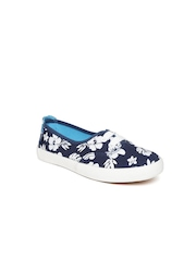 Boltio Girls Navy Floral Print Sneakers