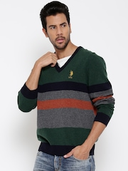 U.S. Polo Assn. Men Green Striped Sweater