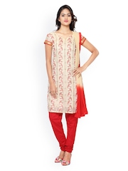 7 Colors Life Style Cream-Coloured & Red Embroidered Unstitched Dress Material