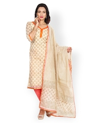 Khushali Beige & Peach-Coloured Printed Chanderi Cotton Unstitched Dress Material