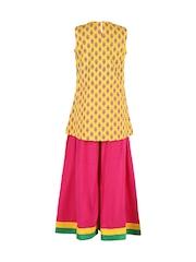 Twisha Girls Yellow & Pink Floral Print Kurta with Palazzo Trousers