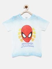 YK Disney Boys White & Blue Spiderman Round Neck T-shirt