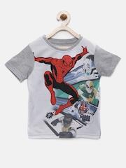 YK Disney Boys Grey Melange Spiderman Round Neck T-Shirt