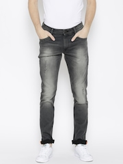 John Players Men Charcoal Grey Skinny Fit Mid-Rise Low Distress Jeans
