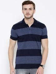John Players Men Navy Striped Slim Fit Polo T-shirt
