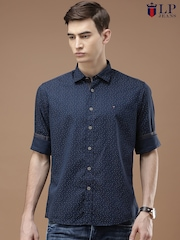 Louis Philippe Jeans Men Navy Blue Regular Fit Printed Casual Shirt